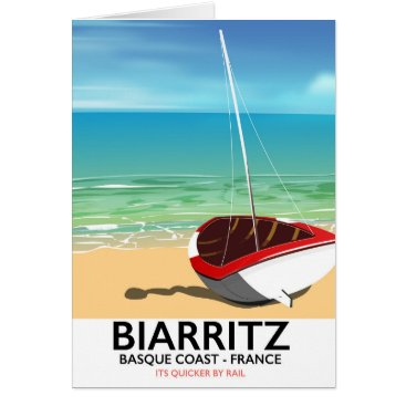 Beach Themed Biarritz France Beach travel poster Card