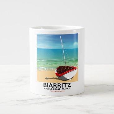 Beach Themed Biarritz France Beach travel poster Giant Coffee Mug
