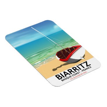 Beach Themed Biarritz France Beach travel poster Magnet