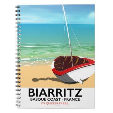 Beach Themed Biarritz France Beach travel poster Notebook