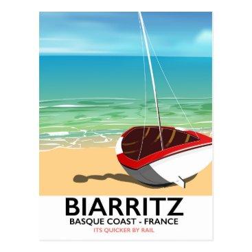 Biarritz France Beach travel poster Postcard