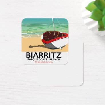 Beach Themed Biarritz France Beach travel poster Square Business Card