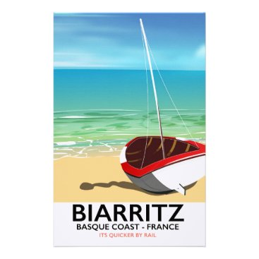 Beach Themed Biarritz France Beach travel poster Stationery