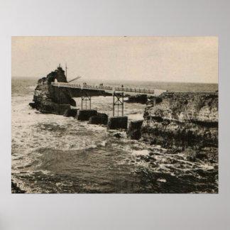 Biarritz Pont y Rocher Póster