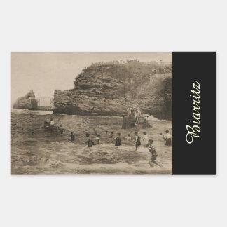 BIARRITZ - Rocher de la Virge et Bains du port Rectangular Sticker