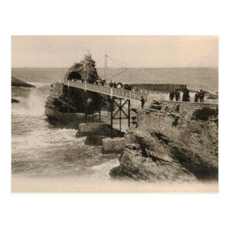 Biarritz rocher on the waves beach  replica 1917 postcard