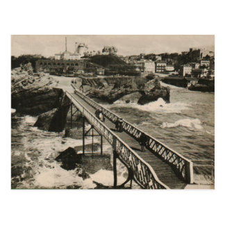 Biarritz rocher the bridge on beach replica 1910 postcard