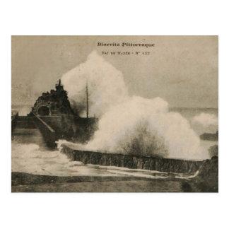 Biarritz Ruse de Marée Tempest 1920 Tarjeta Postal