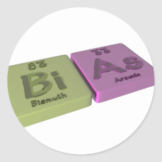 Bias as Bi Bismuth and As Arsenic Classic Round Sticker