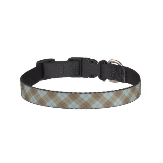 Bias Plaid in Blue and Brown Pet Collar