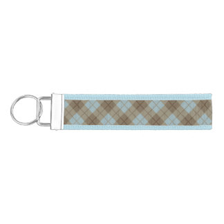 Bias Plaid in Blue and Brown Wrist Keychain