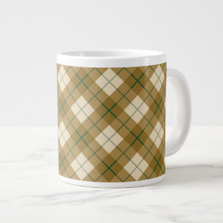 Bias Plaid in Gold with Green Stripe Large Coffee Mug