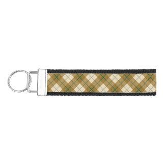Bias Plaid in Gold with Green Stripe Wrist Keychain
