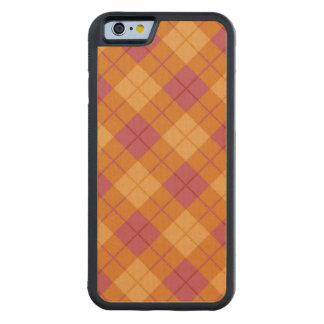 Bias Plaid in Orange and Pink Carved Maple iPhone 6 Bumper Case
