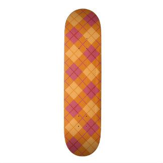 Bias Plaid in Orange and Pink Skateboard Deck