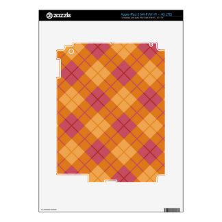 Bias Plaid in Orange and Pink iPad 3 Decal