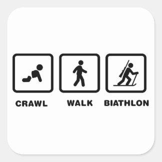 Biathlon Calcomanías Cuadradass