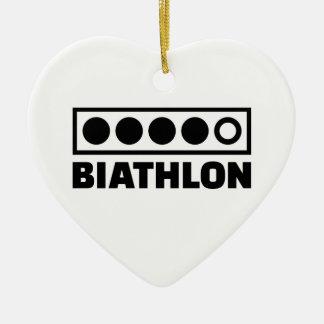 Biathlon target ceramic ornament