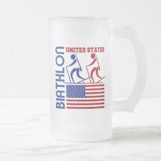 Biathlon United States Frosted Glass Beer Mug