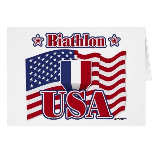 Biathlon usa greeting card zazzle
