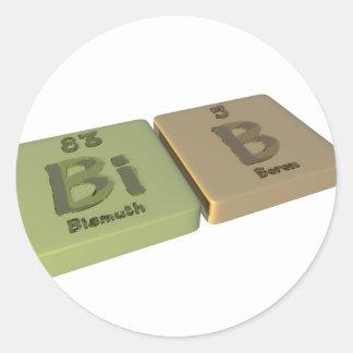 Bib as Bi Bismuth and B Boron Classic Round Sticker