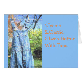 BIB-OVERALLS DRYING ON CLOTHESLINE/BIRTHDAY CARD