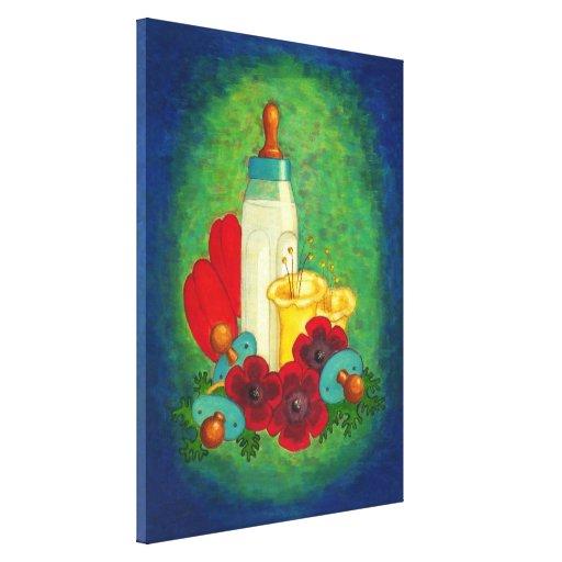 Biberón azul - impresión del cuarto de niños del e impresion de lienzo