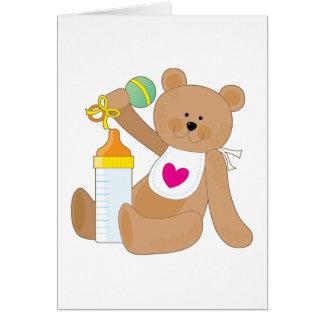 Biberón y babero tarjeta de felicitación