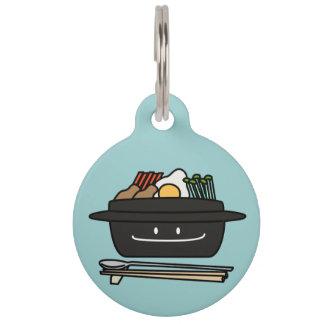 Bibimbap Korean rice bowl namul vegetables egg Pet ID Tag