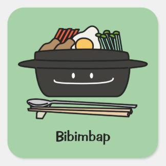 Bibimbap Korean rice bowl namul vegetables egg Square Sticker