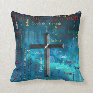 BIBLE and religion word cloud concept blue Pillow