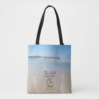Bible, Be Still and Know I Am God, Ocean Beach Tote Bag