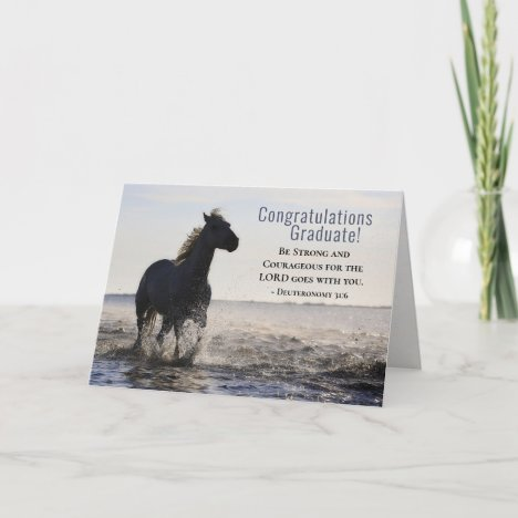 Bible Be strong and Courageous Horse Graduation Card