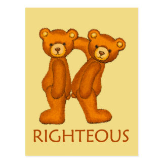 Bible Bears ~ Righteous Scripture ~ Flashcard Postcard