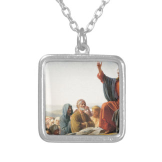 Bible Blessing Faith Jesus Teaching Multitude Silver Plated Necklace