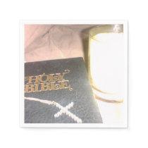Bible candle cross napkins