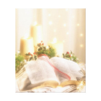 Bible, Candles and Holly - Canvas Print