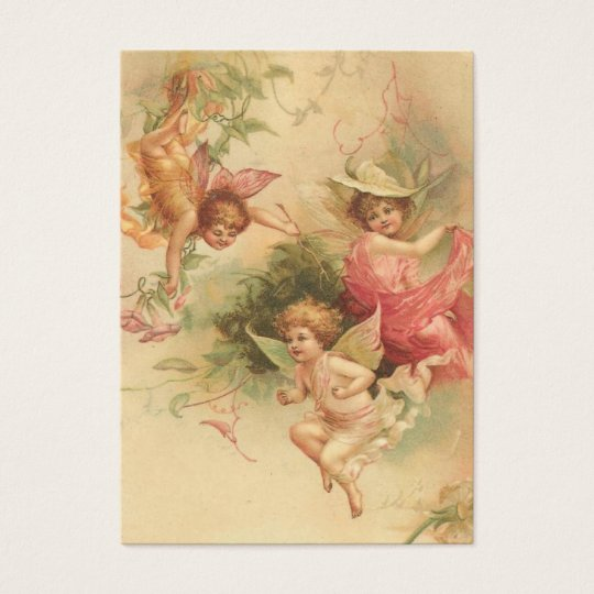 Bible Card-Vintage Angels verse on back Business Card