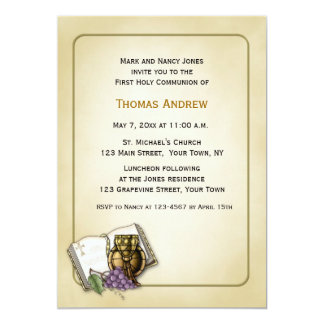 Bible, Chalice, Grapes, Communion Invitation