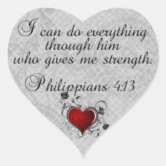 Bible Christian Verse Philippians 4:13 Heart Sticker