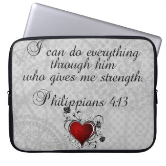 Bible Christian Verse Philippians 4:13 Laptop Computer Sleeves