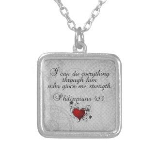 Bible Christian Verse Philippians 4:13 Square Pendant Necklace