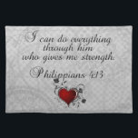 """Bible Christian Verse Philippians 4:13 Placemat<br><div class=""""desc"""">I can do everything through him who gives me strength. Philippians 4:13</div>"""