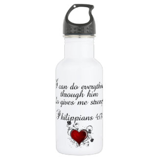 Bible Christian Verse Philippians 4:13 Water Bottle