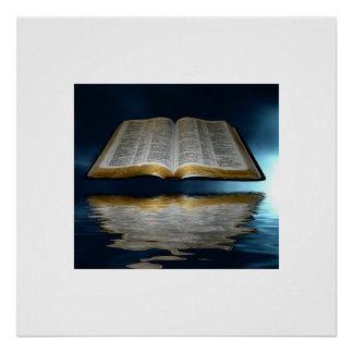 Bible Floating over water Poster