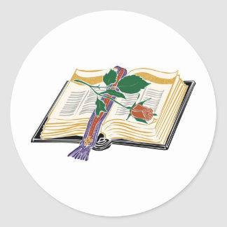 Bible Illustration with Red Rose Classic Round Sticker