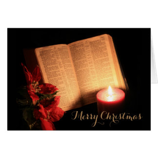 Bible in Candlelight Christmas Card