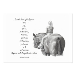 BIBLE MINI CARD: Horse: FRUIT OF SPIRIT: Drawing Large Business Cards (Pack Of 100)