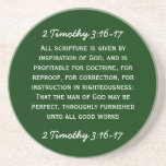 Bible passage 2 Timothy 3:16-17 in white text. Drink Coaster