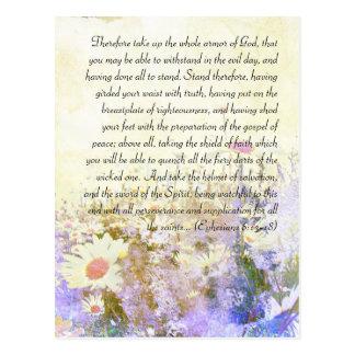 Bible passage, grunge daisy postcard